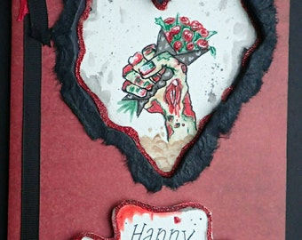 Handmade/Painted Horror Zombie Peep-Hole Anniversary Card