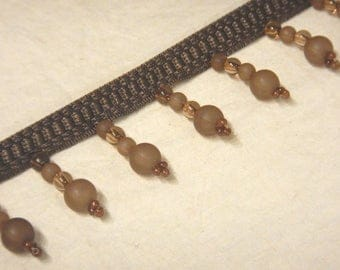 """12 Yard Piece Wright's Beaded Fringe Taupe Brown Decorative Trim Acrylic Beads Clear-Frosted-Seed 1 3/4"""" long"""