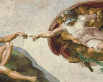Creation of Adam by Michael Angelo - Counted Cross Stitch Kit - DMC materials
