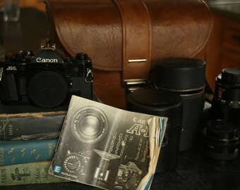 CANON A-1 Camera, Five Lens, Original Manual and Carrying Case, Strap, Fisheye, Great Lenses, Student Camera, 35mm Camera, Photo
