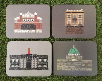 Belfast architecture coaster 4 pack.