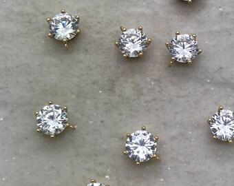 Small Round Cubic Zircon Drop Gems Rhinestone Jewels 24K Gold Plated Brass Circle Shape Setting Charm Jewelry Making Supplies (AU149)