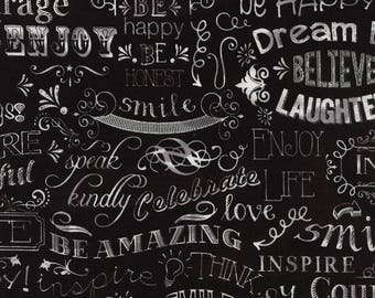 NEW - Timeless Treasures - Chalkboard Happy Words - Black - Novelty Fabric - Choose Your Cut 1/2 or Full Yard