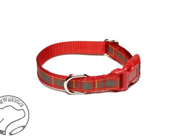 "NEW - Cameron Clan Tartan Small Dog Collar - Thin Dog Collar - 1/2"" (12mm) Wide - Red Plaid -  Cameron Plaid - Choice of style and size"