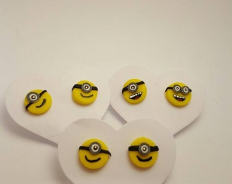 Minion Face Stud Earrings - Handmade Polymer Clay - Despicable Me