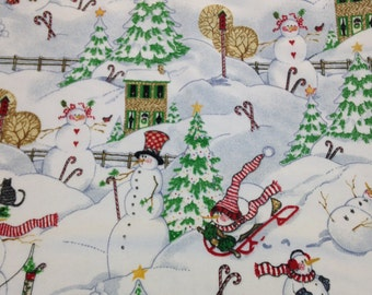 Snowman Christmas fabric, Christmas flannel, Christmas trees, Sleigh riding snowmen, Candy cane snowmen, by the yard