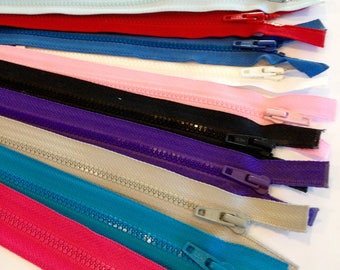 Separating zipper, open ended zip, multi colors, 6 inch, 8 inch, 10 inch, 12 inch.