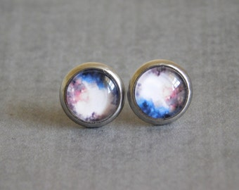 Space Nebula Stud Earrings : Mini Moon Photo Planet Jewelry