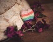 Pastel Felted Mini Rainbow Heart Stuffie Photography Prop Newborn Props Baby