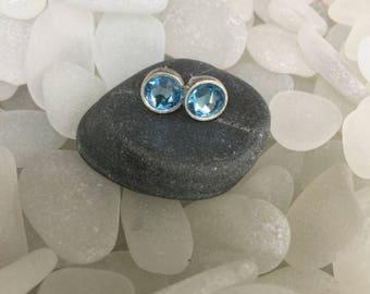 elegant light blue faceted czech glass stud earrings, silver plated czech glass blue post earrings, silver czech glass stud earrings