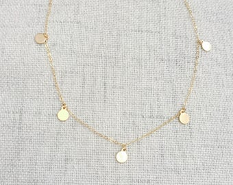 Gold Circle Necklace   Ascended Necklace   Petite Discs Necklace   Boho Necklace   Simple Necklace   Brides Necklace   Layering Necklace