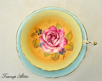 Paragon Light Blue Teacup and Saucer With Large Pink Rose, English Bone China Tea Cup And Saucer Set, ca. 1957-1960