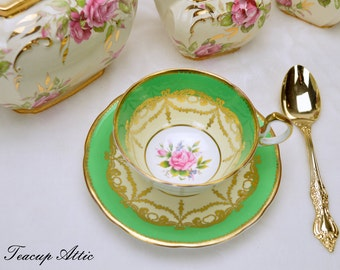 Aynsley Green Teacup With Floral Center, English Bone China Teacup Duo, Wedding Gift, ca. 1934-39