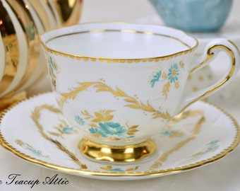 Royal Chelsea Elegant Teacup and Saucer Set With Aqua Blue Flowers and Gold Decoration, Vintage English Bone China  Teacup, ca.1951-1961