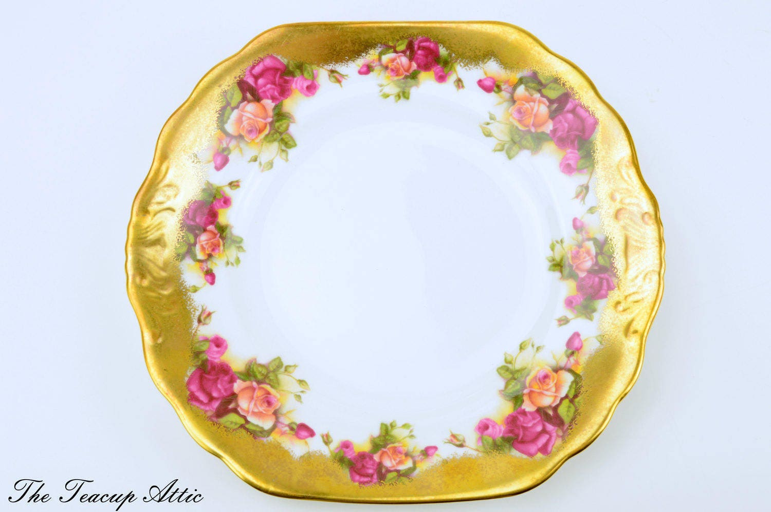 Stunning Vintage Royal Chelsea Golden Rose Cake Plate, English Bone China Cookie Plate, ca. 1940-1950
