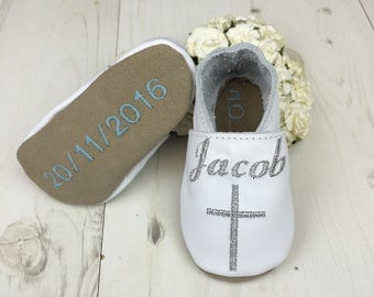 Christening Shoes - Baptism Shoes - leather baby shoes - christening keepsake - Christening gift - personalized christening shoes