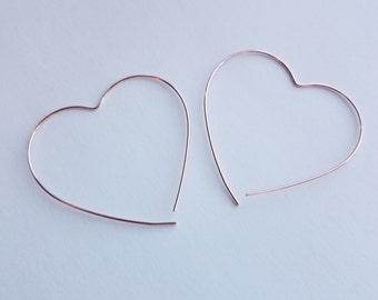 Rose Gold Heart Earrings, Heart Hoops, Rose Gold Earrings, Rose Gold Jewelry, Gold Heart