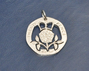 Crowned Tudor Rose. Cut coin pendant necklace charm 20 pence UK Coin cut jewelry All handmade
