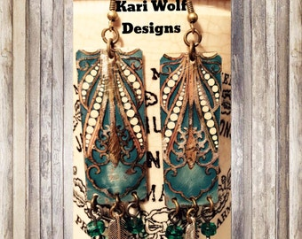 Repurposed, Tin, Earrings, Turquoise, Feathers, Cream, Gold, Created By: Kari Wolf Designs
