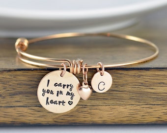 I Carry You In My Heart, Rose Gold Bangle Bracelet, Remembrance Bracelet, Loss of Loved One, Personalized Hand Stamped Bangle Bracelet