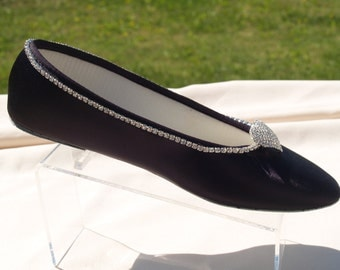 Bling Eggplant Flats, Black or 15+ colors Shoes Satin Ballet Style Slipper, Wedding Shoes, bridesmaids, Special Occasion, Comfort