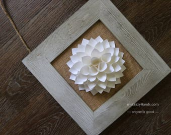 dahlia wall decor || 5 3/4'' paper dahlia with rustic frame || rustic wedding gift || | wedding flower | gift for her -nature white