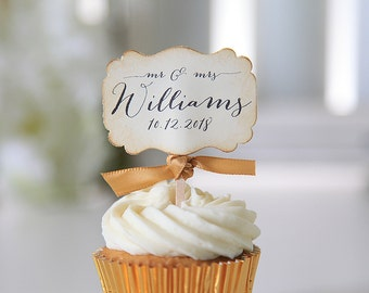 Wedding Cupcake toppers, Mr. and Mrs., Customization, Wedding Reception Favors, Wedding date toppers, Last Name, 12 toppers