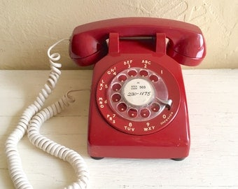 Vintage Red Rotary Telephone Desk Table Phone with Cord