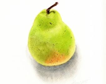 Pear  - original watercolour painting of a pear, still life, nature art, kitchen art, wall art, original art,  food art, fruit, fruit art,