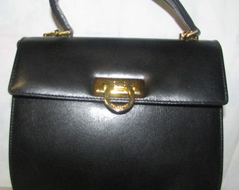 Pourchette Paris Vintage Black Leather Purse Made in France