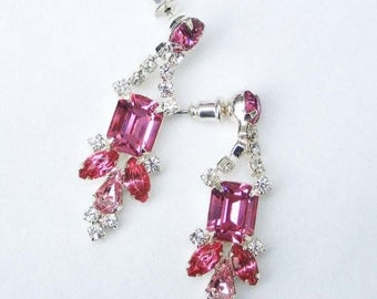 30% OFF SALE - Rose and Crystal Octagon and Navette Rhinestone Earrings