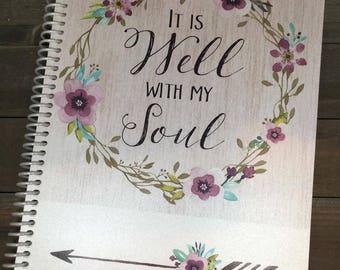 Prayer Journal - Bible Journaling - Journal - Christian gift - Personalized Scripture Journal - ** Aqua & Purple Wreath**