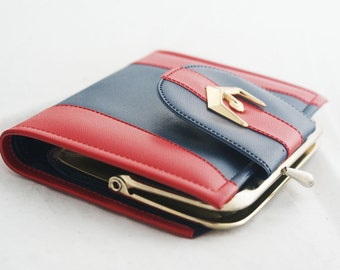 Wallet- Red and Navy Blue compact credit card holder with external coin purse