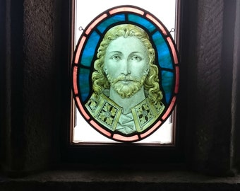 RESERVED Antique Victorian Jesus Stained Glass, Exquisite Bearded Man, Portrait, Pre-Raphaelite, Collectable Historic Church Window Roundel