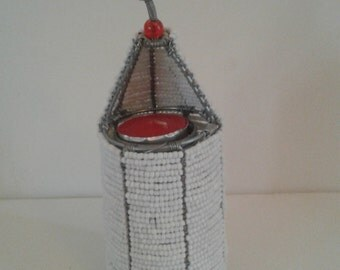 BEADED TEALIGHT HOLDER - Hand crafted in Africa. Lovely table center piece for the Xmas table. Also for Wedding decor.