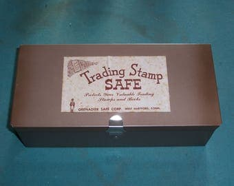Trading Stamp Safe Including Four Empty Books and Four Full Books..Collectors Box..Metal Collecting Box...Trading Stamps...