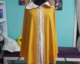 Handmade yellow Hoodie  cape cloak