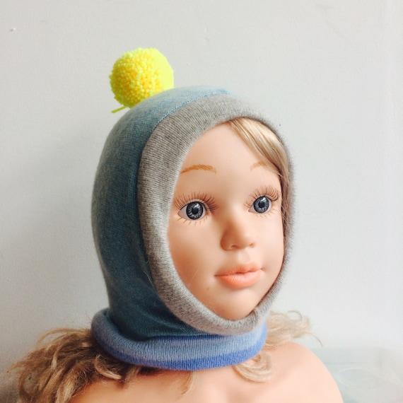 DIZZY 0-3m Cashmere Baby Hat Childrens Balaclava Bobble Hat Snood Hoodie Upcycled Cashmere Pom Pom Unisex