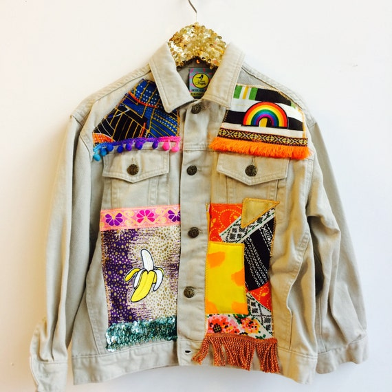 JUMP 8-10 Years Denim Jacket Upcycled with African fabric Pom Pom Trim