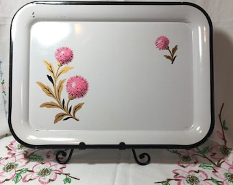 PRICE REDUCED Vintage White With Pink Flower Metal Serving Tray or Wall Hanging