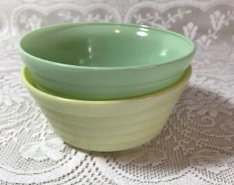 Vintage 1940's Hazel Atlas Moderntone Platonite Pastel Cereal Bowls