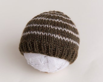 Newborn beanie Knit hat stripe ready to ship Photography Prop RTS