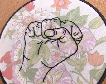"""Embroidery Hoop Art • Floral """"Fists Up"""" • Feminist Art / Home Decor"""
