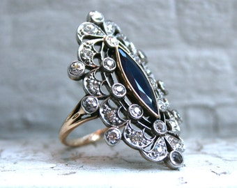 RESERVED - Antique 14K Yellow Gold/ Platinum Diamond and Sapphire Ring Engagement Ring - 2.50ct.