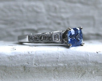 Vintage 14K White Gold Diamond and Ceylon Sapphire Engagement Ring - 2.45ct.