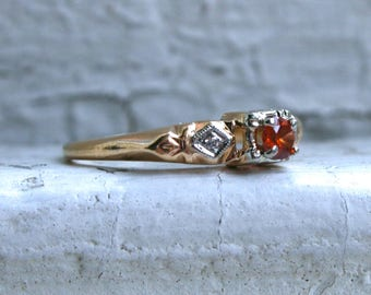 Sweet Deco Vintage 14K Yellow Gold Diamond and Fire Opal Ring Engagement Ring.