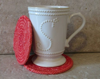 Clothesline Coasters, Coasters, Coiled Coasters, Scrappy Coasters,  Fabric coasters, Set of 2, red, shades of red, leaves