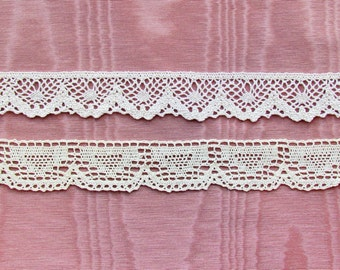 Antique lace edge trim, 2 styles of torchon lace
