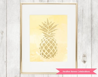 Gold and Yellow Pineapple Print | Watercolor Printable Wall Art | Pineapple Themed Decor Instant Download