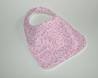 Girls Baby bib,  Girls Bib, Pink baby bib, Pink bib, Pink Stars bib, Pink Stars baby bib, Star bib for girls, Terry cloth backed baby bib